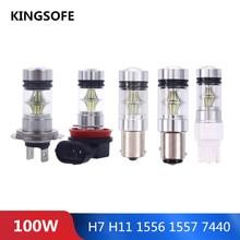 100 Вт прочные светодиодные лампы для фар Противотуманные фары высокой мощности автомобильный светильник H7/H11/1156/1157/7440
