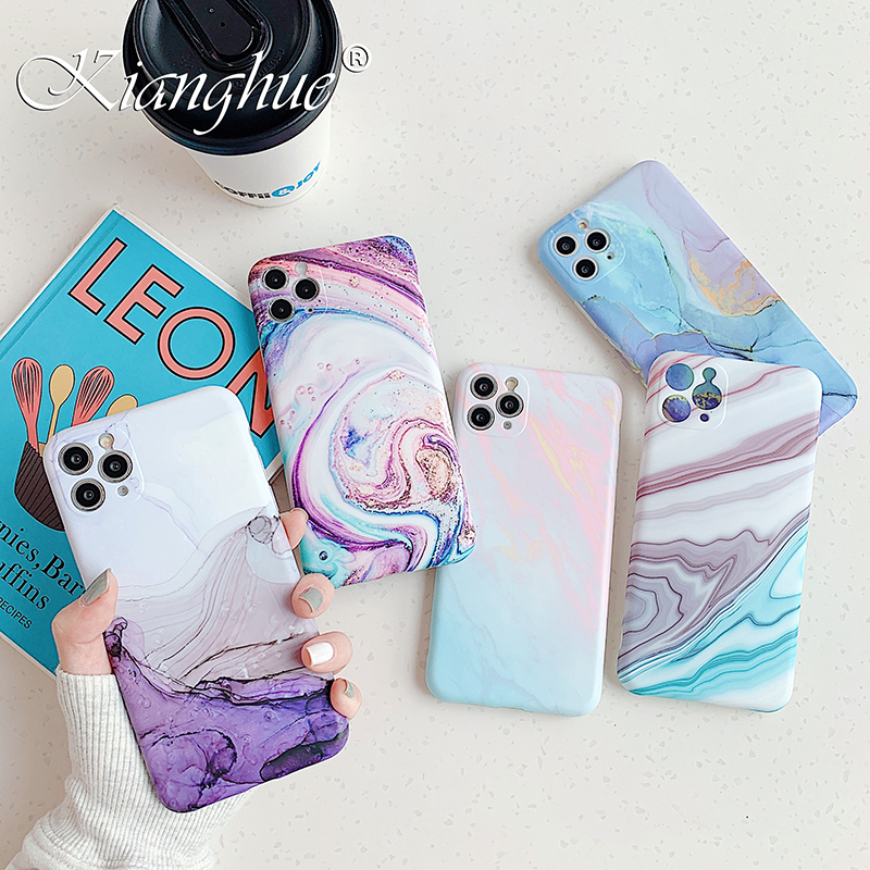 Luxury Marble Silicone Soft Case For Iphone Se 2020 Matte Camera Cover Case For Iphone 11 Pro XS Max X XR 8 7 Plus Shockproof 7+