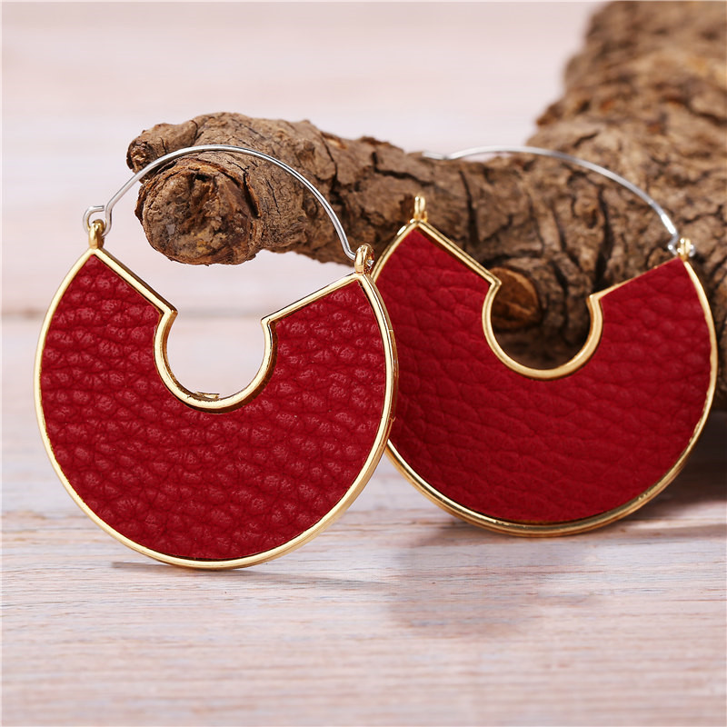 He7df0aa2ad8e476586eb1c3939557c8eH - IF ME Fashion Leather Circle Hoop Earrings Big Round Korean Earring Alloy Metal Red Colorful Brincos 2020 New Jewelry Gift