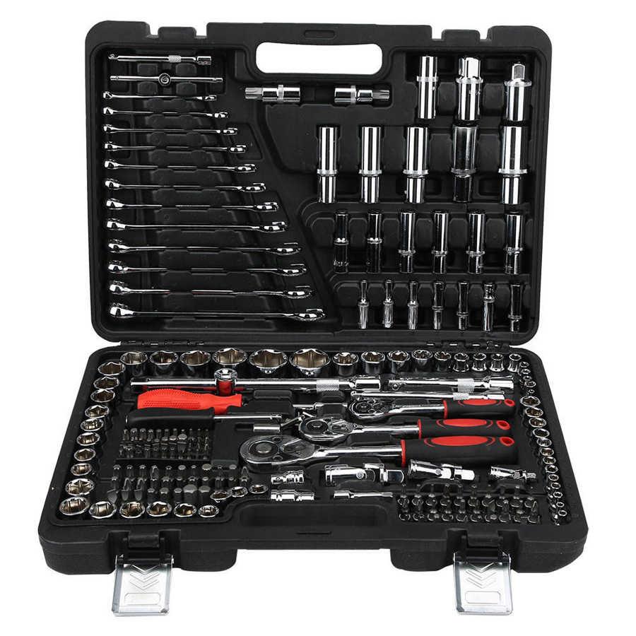 215 pièces ensemble de clés à cliquet réparation outils à main Kits jeu de douilles combinaison finie clé Kits avec boîte à outils