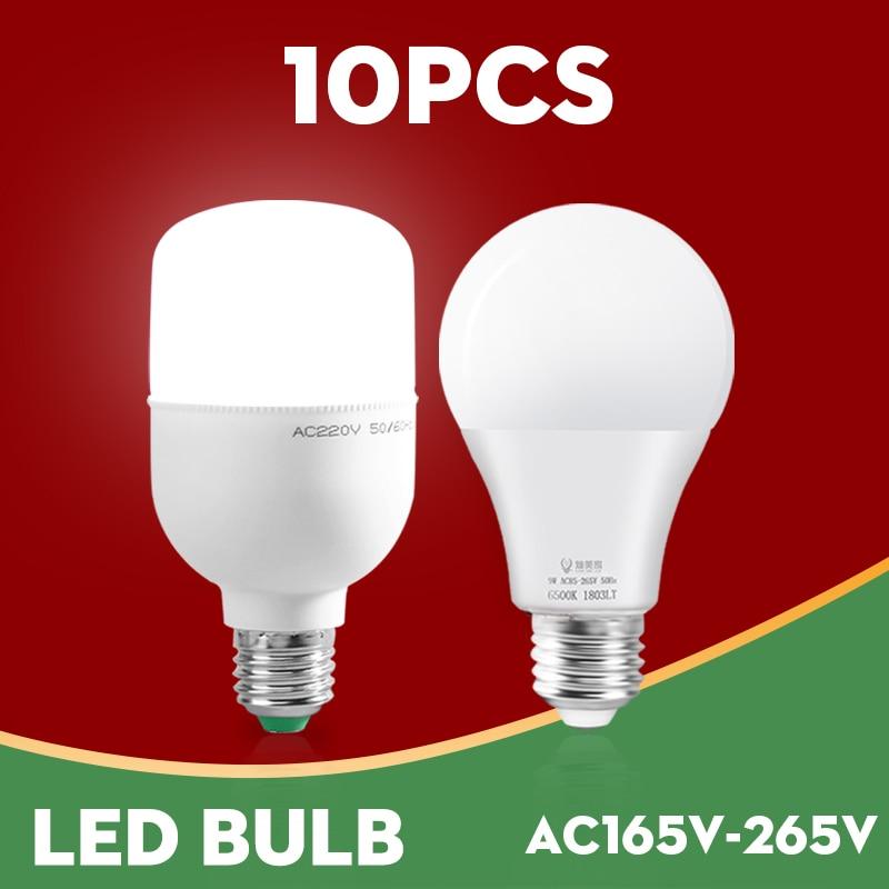 10pcs E27 LED Bulb lamps AC 220V 3W 5W 9W 12W 15W 18W High Brightness Led Lampadaled Bombilla Spotlight Cold Warm White for home