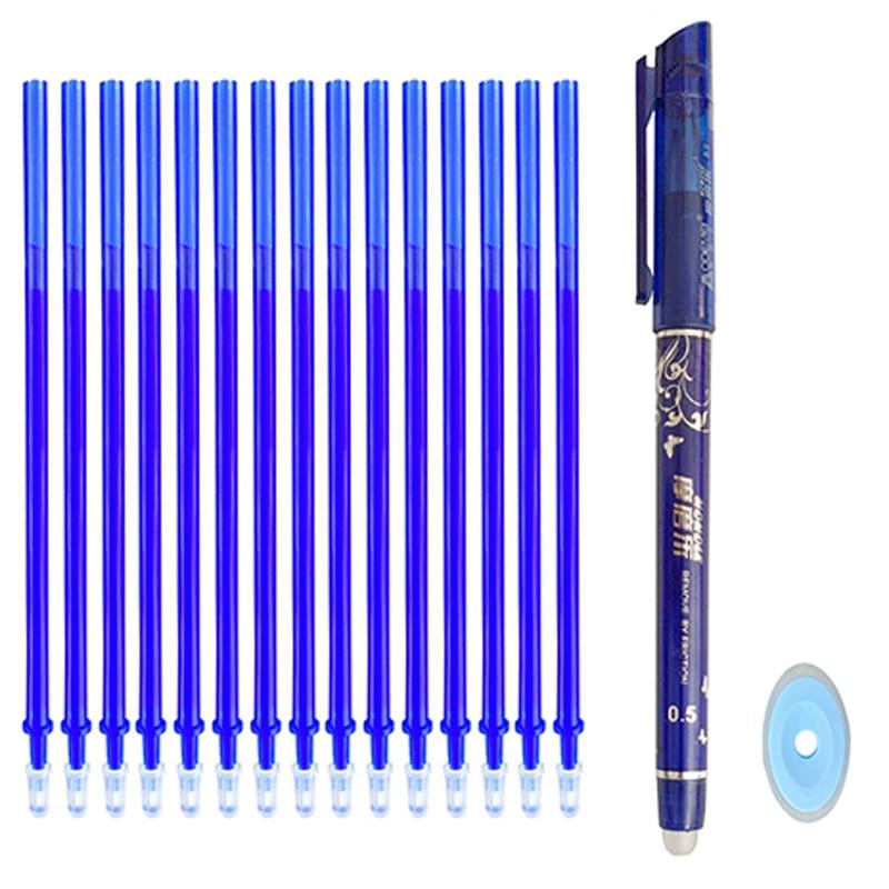 Pen Erasable Stationery Refill-Rod Green-Ink Black School Office-Gel Blue Writing 12/20pc/set