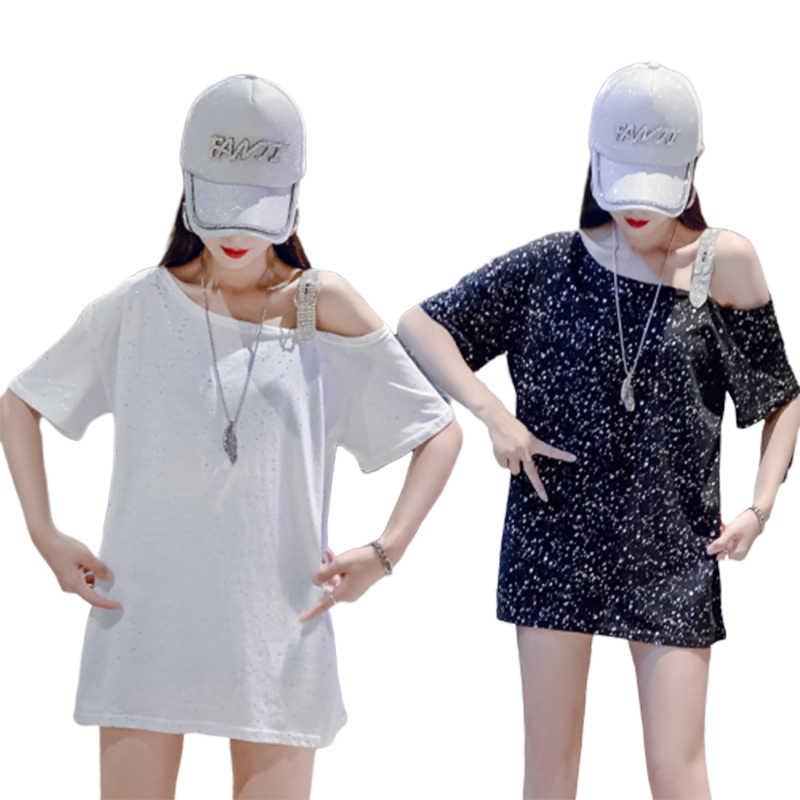 2019 אישה ארוך חולצה שרוול שמי זרועי הכוכבים נוצץ למטה חולצה נשים חולצות וחולצות בתוספת גודל הקיץ למעלה תחתונית Femme