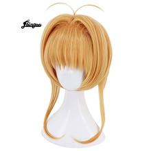 Blonde Wigs Hair-Cap Short Synthetic Women New Card Sakura for Costume Captor Kinomoto