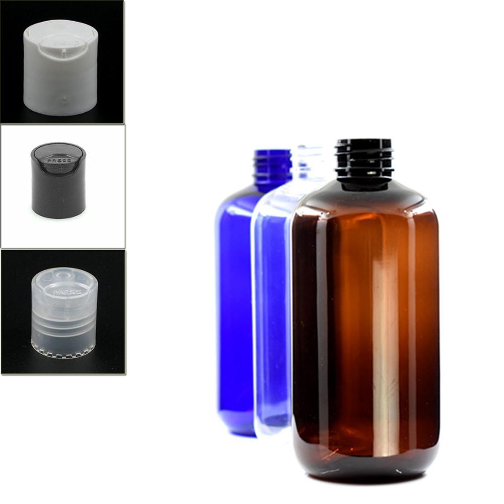 250ml Empty Boston Round Plastic Dispensing Cap Bottle , Clear/blue Pet Bottle With Transparent/white/black Disc Top Lid