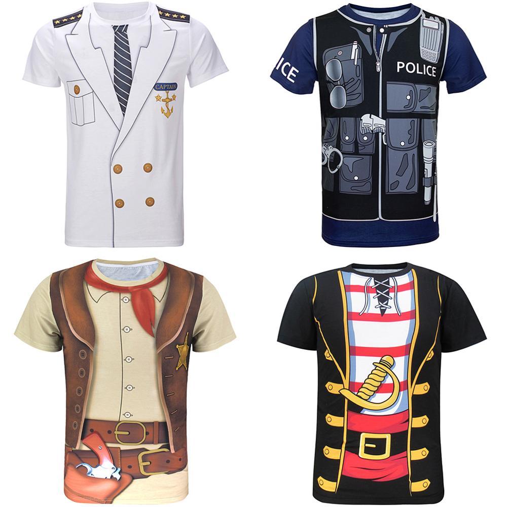 Men Captain Pilot Police Pirate Cowboy 3D T-Shirt Male Prisoner Tee Adult Cosplay Christmas Halloween Carnival Party Uniform Top