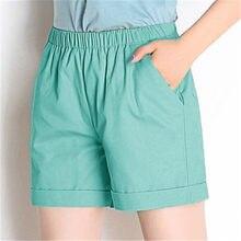 D'été Décontracté Femmes Shorts Solide Coton Lin Short Taille Haute Lâche Shorts Pour Les Filles Doux Cool Femelle Court S-4XL