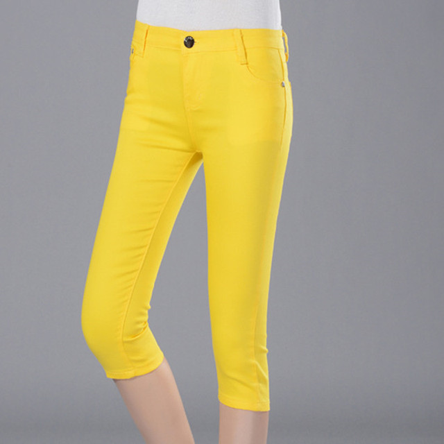 Women's Black Breeches Female Summer Capris Pants Elastic Skinny Knee Length Trousers Leisure Candy Color Pencil pants 1