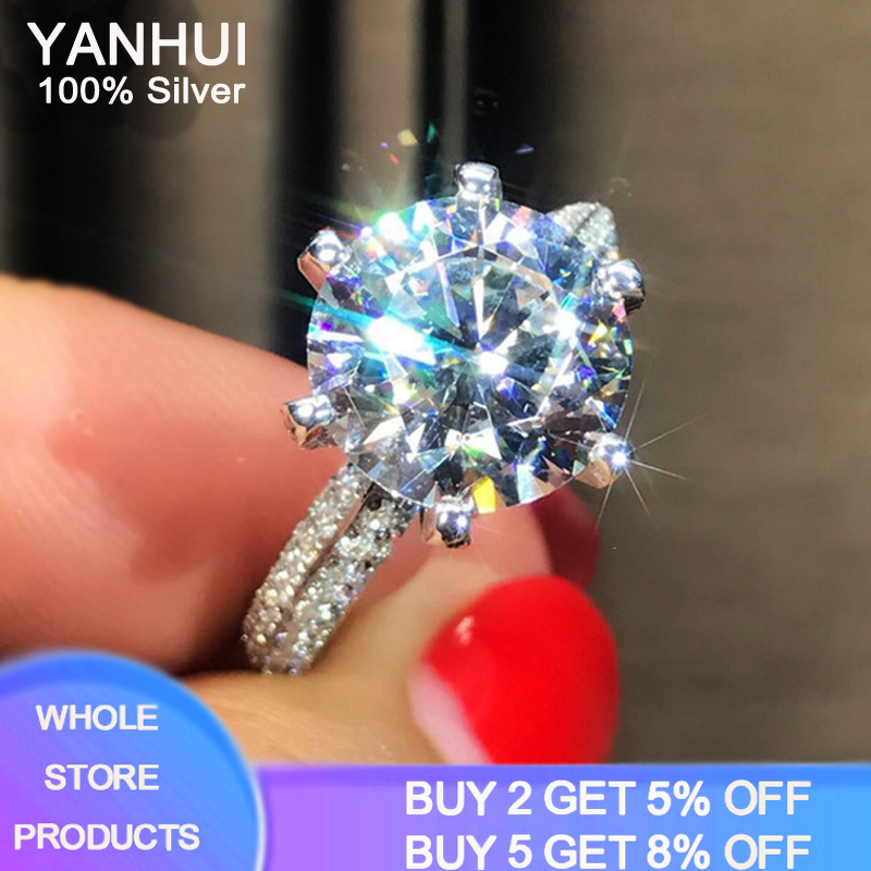 YANHUI Women Gift Engagement Rings Original Solid 925 Silver Jewelry Natural 2.0ct Zirconia Gemstone Ring Wedding Party Jewelry