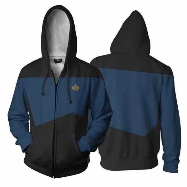 Estrela voyager comando cosplay estrela traje com capuz trek hoodie de alta qualidade 3d impressão com zíper jaqueta camisolas