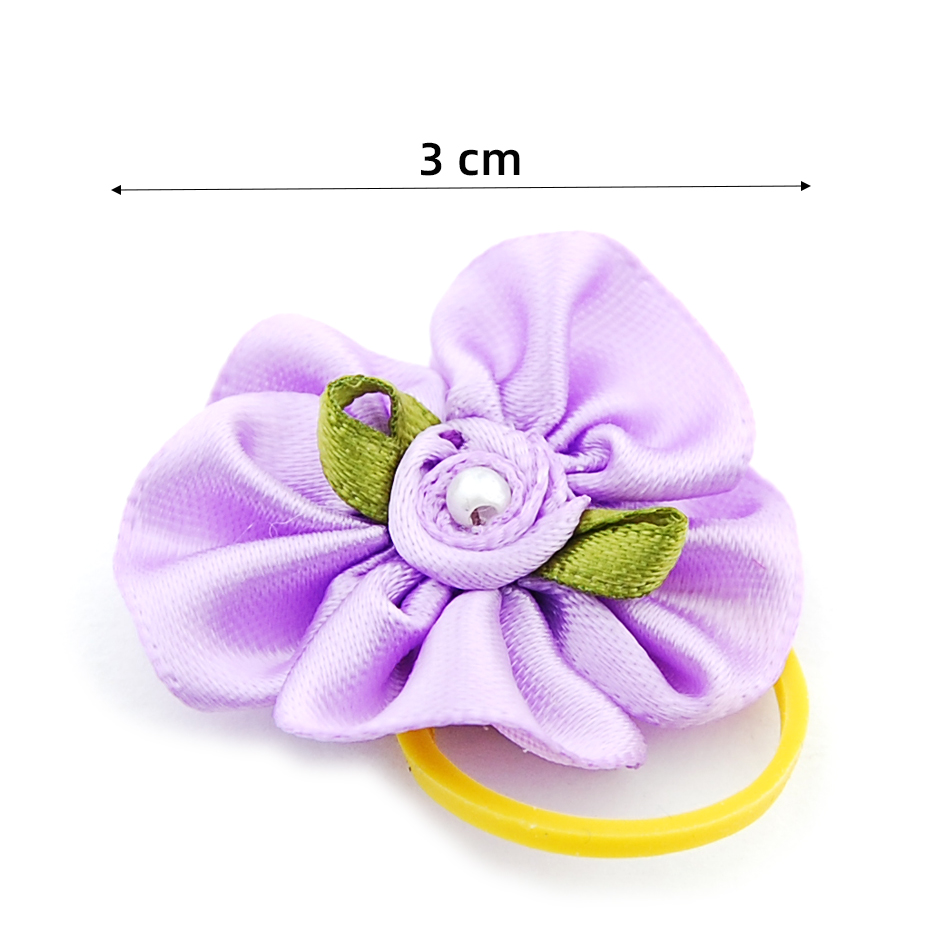 (24 pieces/lot) Pet Puppy Small Dog Hair Flower Bows Pet Hair Accessories Dog Bowknot Elastic Band Decoration Poodle 3