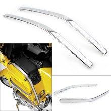 Goldwing gl 1800 chrome lado da frente da motocicleta carenagem cowl borda moldagem guarnição para honda gl1800 2001 2002 2003 2004 2005 2006