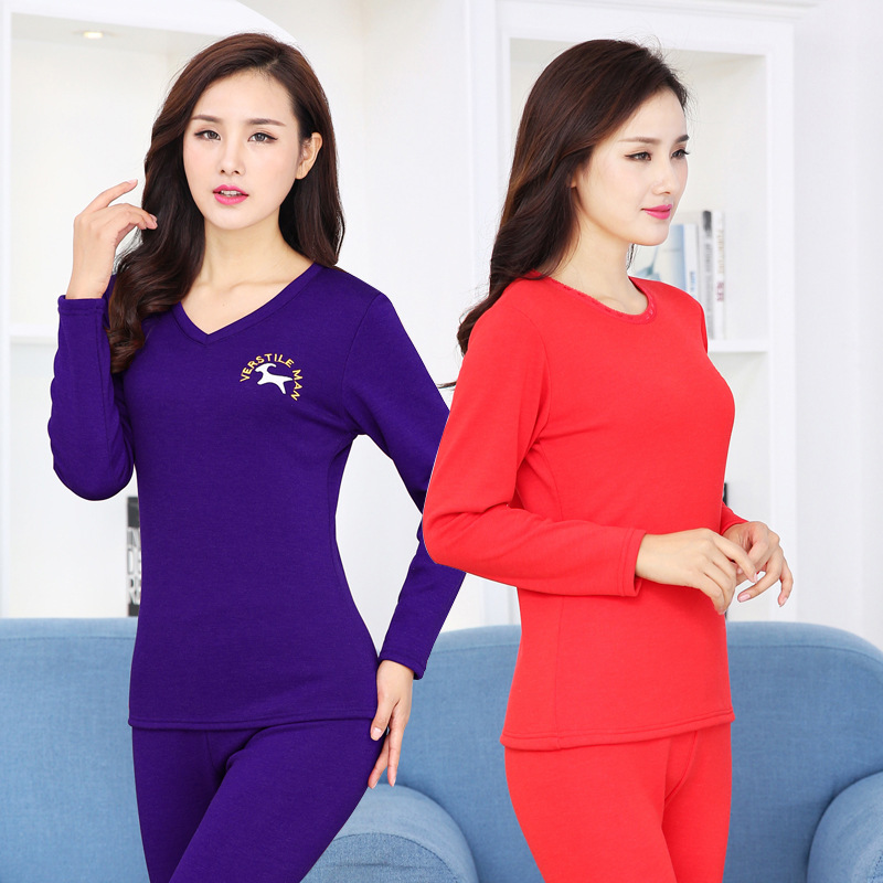 Women New Autumn & Winter Super Flexible Thermal Underwear Cotton Thickened Undershirts Wool Warm Long Johns Suits