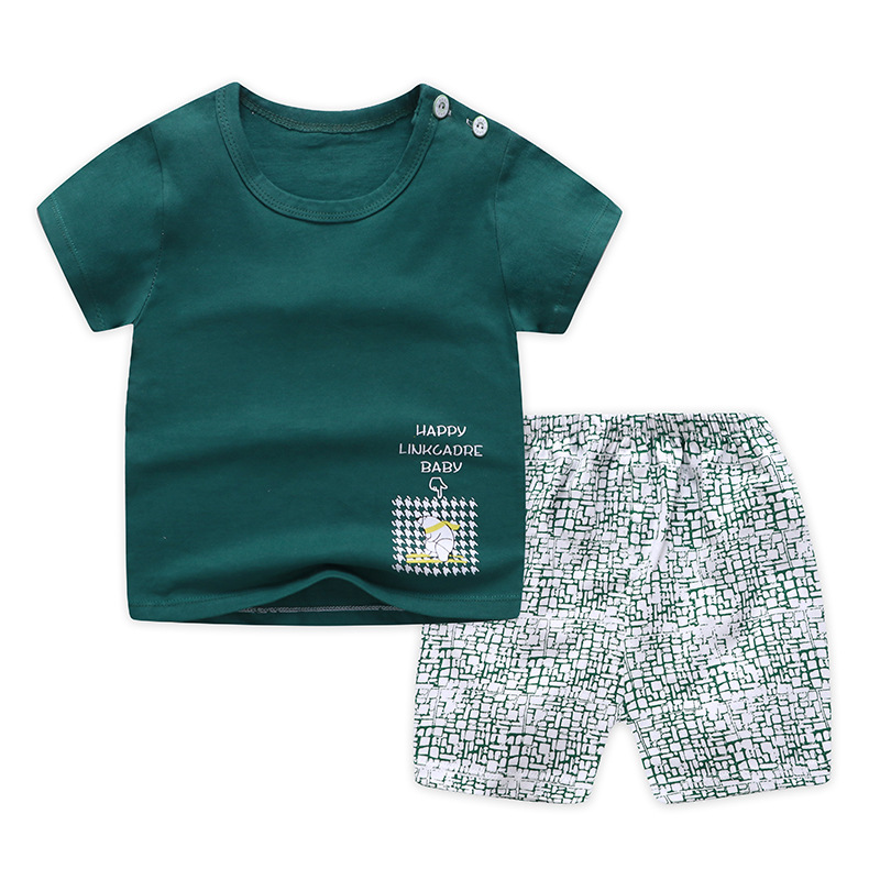 Casual Kids Clothes 2 Piece Set Clothing Green Cool Boy T-shirt + Shorts Clothing Boys Tracksuit Children Baby Clothes