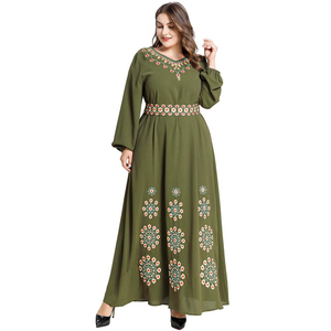 Islamic Clothing Women Muslim Maxi Dress Plant Embroidery Belt V-neck Dubai Turkey Middle East UAE Moroccan Kaftan Long Dresses