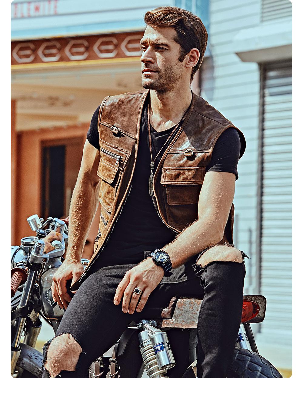He7dff2e2f0a348f4abf34d4705965677v FLAVOR New Men's Real Leather Vest Men's Motorcycle Fishing Outdoor Travel Vests