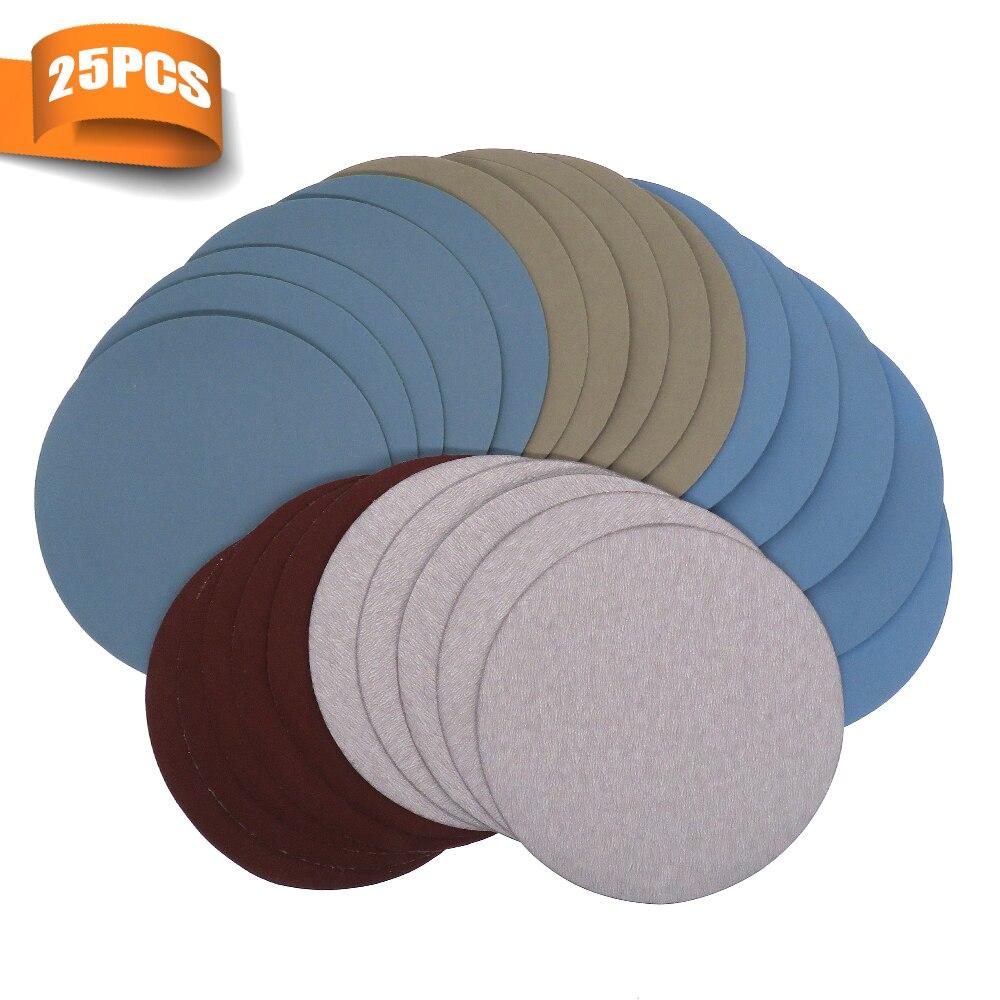 25PCS 125mm /5'' Inch Sanding Discs Hook Loop SandpaperGrit 1000 /2000 /3000/ 4000/ 5000 Round Sandpaper Disk Sand Sheet