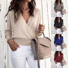 Fashion Sexy V-neck Long-sleeved Solid Color Top Loose Casual Simple Style Womens Office Lady S-XL Size