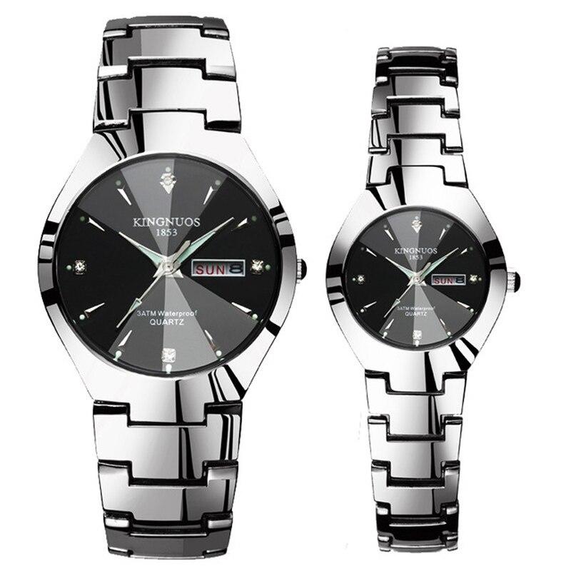 Часы для влюбленных Роскошные Кварцевые наручные часы для мужчин и женщин Hodinky Dual Calender Week steel Saat Reloj Mujer Hombre парные часы - Цвет: Couple Silver Black