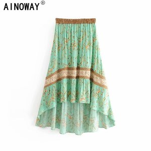 Image 1 - Vintage Chic fashion women  beach Bohemian floral print irregular hem rayon skirt High Waist Maxi  A Line Boho Skirt Femme