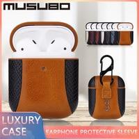 MUSUBO gancio di copertura in vera pelle di lusso per Airpods 1 2 Airpods Pro 3 Funda auricolare custodia protettiva per uomo moda Capa Coque