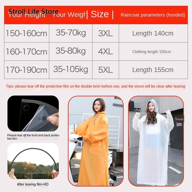 Yellow Long Raincoat Electric Motorcycle Rain Poncho Transparent Rain Coat Increase Thick Waterproof Suit Adult Impermeable Gift 4