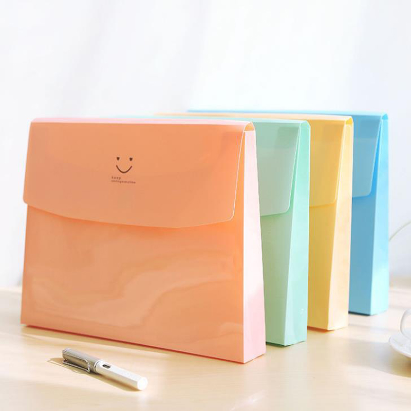 1 Pcs Kawaii Candy Color A4 Smile Face PVC Document Bags School Office File Folder Wallet Stationery Storage Organizer Gifts
