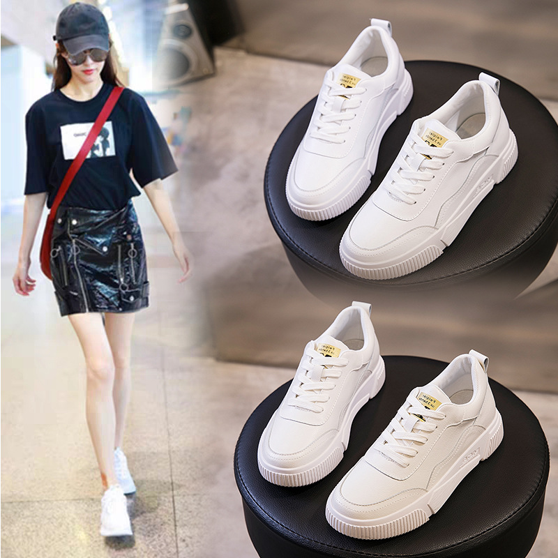 Spring Autumn Sneakers Leather Single Shoes 2020 New Small White Shoes Women's Students Sports Board Shoes Western White Shoes
