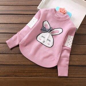 Image 5 - Girls Knitted Sweaters Pullover Tops Cartoon Rabbit Cute Knitting Shirt Little Girl outwear Children sweater Coat Kids knitwear
