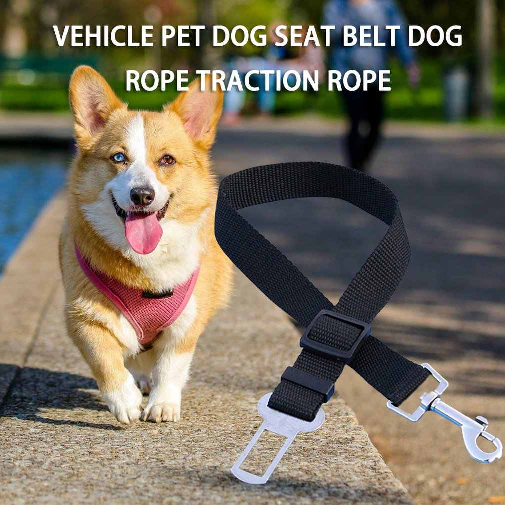 애완 동물 강아지 고양이 자동차 좌석 벨트 조정 가능한 하네스 안전 벨트 리드 가죽 끈 작은 중형 개 여행 클립 애완 동물 용품