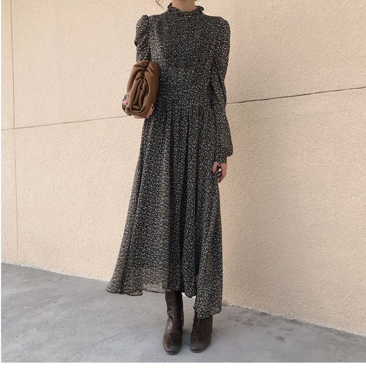 He7e0dcb7d7154cd68a8d5aaf9833e1e4B - Autumn Stand Collar Long Sleeves Waist-Controlled Floral Print Maxi Dress