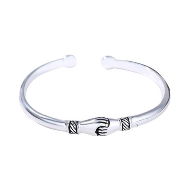 925 Sterling Silver Jewelry Bracelets Opening Handshake  5