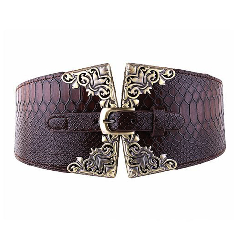 Lady Women Elastic Waistband Faux Leather Wide Waist Belt Retro Metal Buckle LX9E