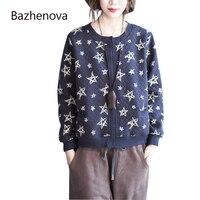Bazhenova Women Printing Coat Girls Loose Casual Long Sleeve Autumn Simple Jackets Woman Stars Pattern Tops R074