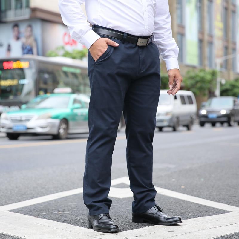 2020 NEW Brand Men Pant Slim Casual Suit Work Pants Pure Cotton Stretch Male Long Trousers Men Pants Suit  Plus Size  42 44 46
