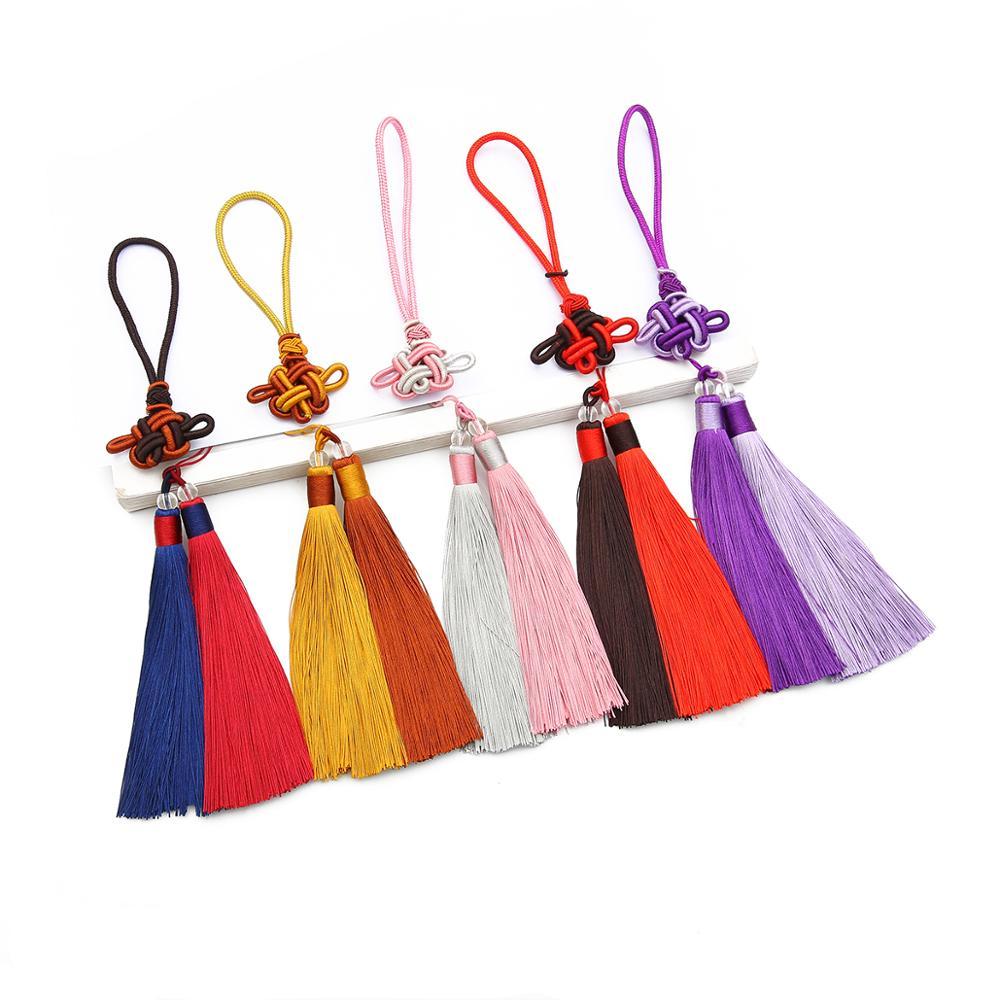 1 takım/paket Polyester püsküllü kenar süsü 12cm pamuk ipek püsküller düğün dekorasyon için el yapımı DIY dikiş perde aksesuarları