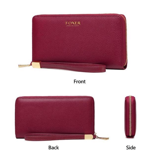 FOXER 100% Genuine Leather Wallet Lady Luxury Long Purse Card Slot Women Money Bag Cowhide Phone Bag Female Bank Holder ID Case 5