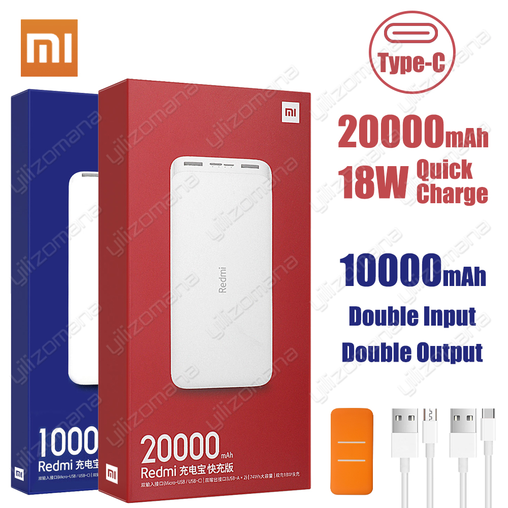 Newest Xiaomi Redmi Original Power Bank 20000mAh 18W Quick Charge 10000mAh Powerbank Fast Charging Portable Charger