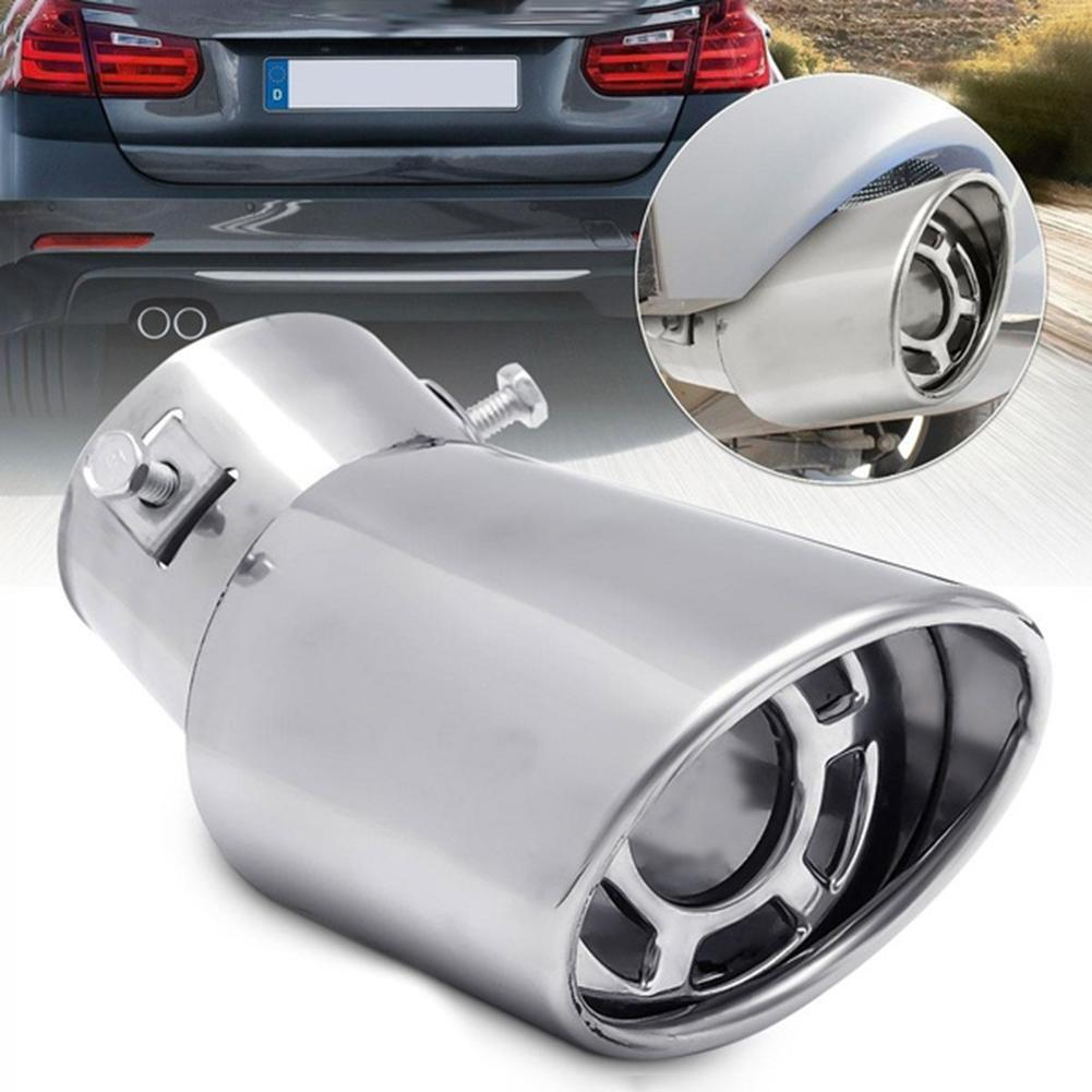 Universal Car Auto Rear Metal Curved Exhaust Pipe Tail Muffler Tip Accessories 2019