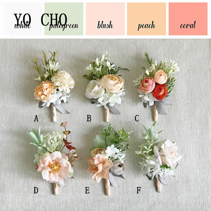 YO CHO Bridesmaid Corsage Flore Boutonniere Men Wedding Corsage Bracelet Boutonniere Flower Wedding Women Brooch Planner Corsage