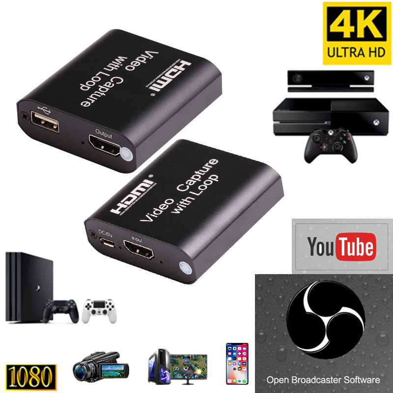 1080P 4K HDMI Video Capture Device HDMI To USB 2 0 Video Capture Card Dongle Game Record Live Streaming Broadcast Local Loop Out