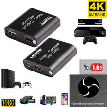 1080P 4K HDMI Video Capture Perangkat HDMI untuk USB 2.0 Video Capture Card Dongle Catatan Permainan Live Streaming siaran Local Loop Out(China)