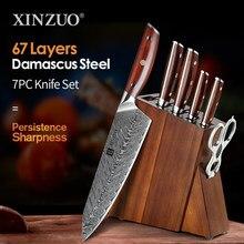 XINZUO 1-7 Uds cuchillo de cocina de acero de Damasco Chef de corte de cuchillo japonés VG10 de acero de mango de palo de rosa PUNTO DE