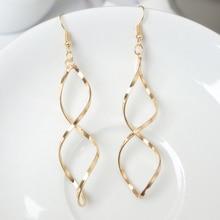 E0247 Fashion Double Loop Drop Earrings For Women Long Wave Dangle High Quality Statement Wedding Jewelry Wholesale