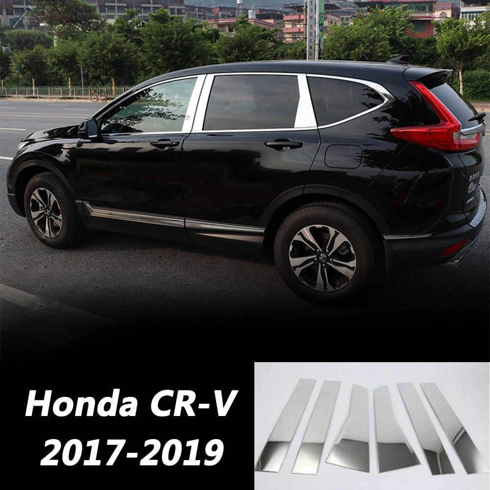 Car Outside Door Window Pillars Trim Covers For Honda CR V CRV CR V 2017 2018 2019 Auto Chrome Silver Sticker Car Styling