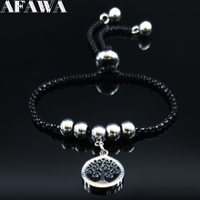 цена на 2019 Fashion Tree of Life Stainless Steel Chain Bracelet for Women Black Color Bracelets Bangles Jewelry arbol de la vida B18498