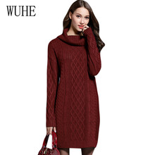 WUHE Autumn Winter Knitted Sweater Dress Women Fashion Turtleneck Pullover Female Vestidos Elegant Bodycon Dress Big Size 4XL female autumn winter dress 2017 turtleneck long knitted sweater vestidos women slim bodycon dress casual pullover ws4716c