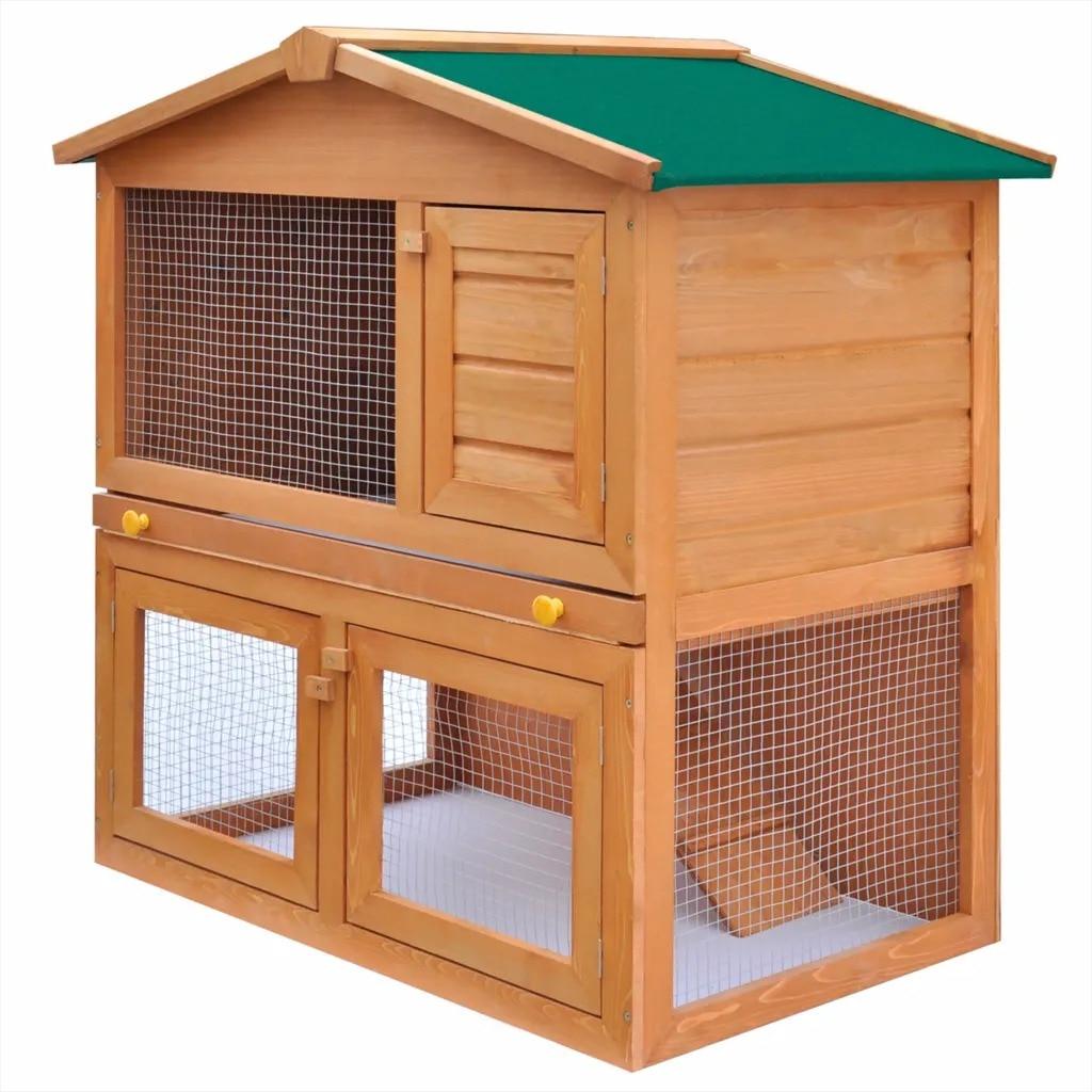 VidaXL 3 Doors Wood Pet Coop Rabbit Hutch Chicken Coop Cage Guinea Pig Ferret House W/ 2 Storeys Run Outdoor Cat Dog Pets House
