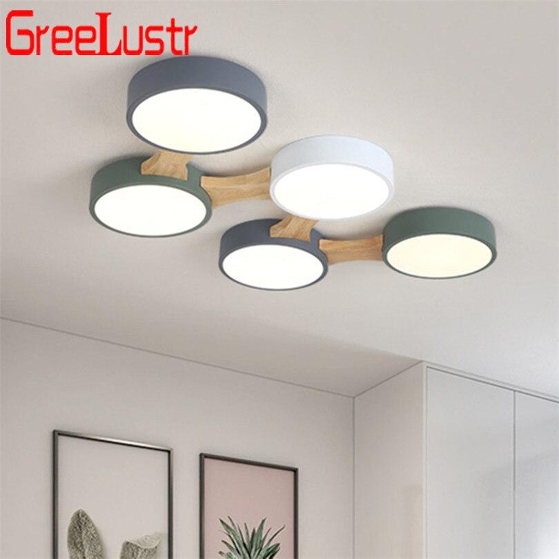 Nordic Wood Macaron Ceiling Lights Loft Led DIY Lamps BedroomLustres Round thin plafondlamp Living Room Home Lighting
