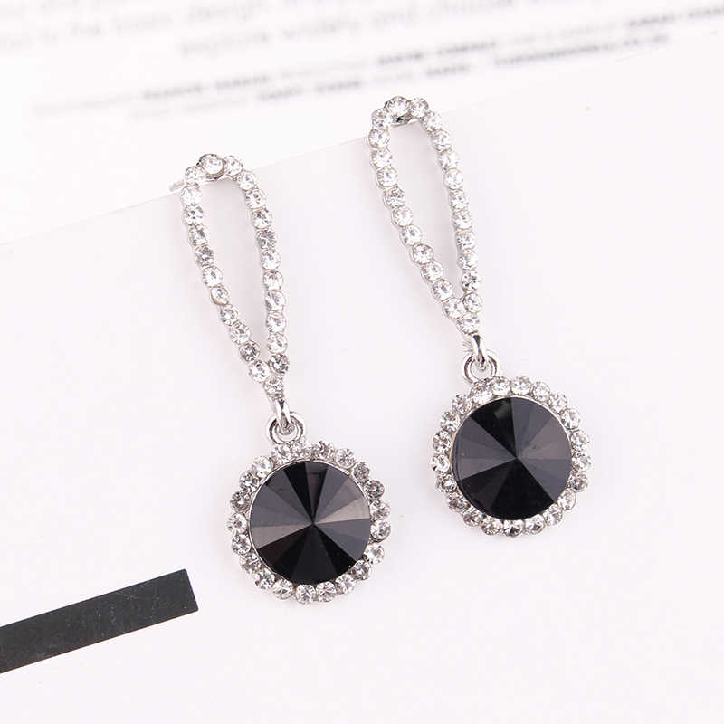 LUBOV 828 Promotion New Round Blue Earrings Women Fashion Noble Wedding Jewelry 585 Rose Gold Natural Zircon Dangle Earrings